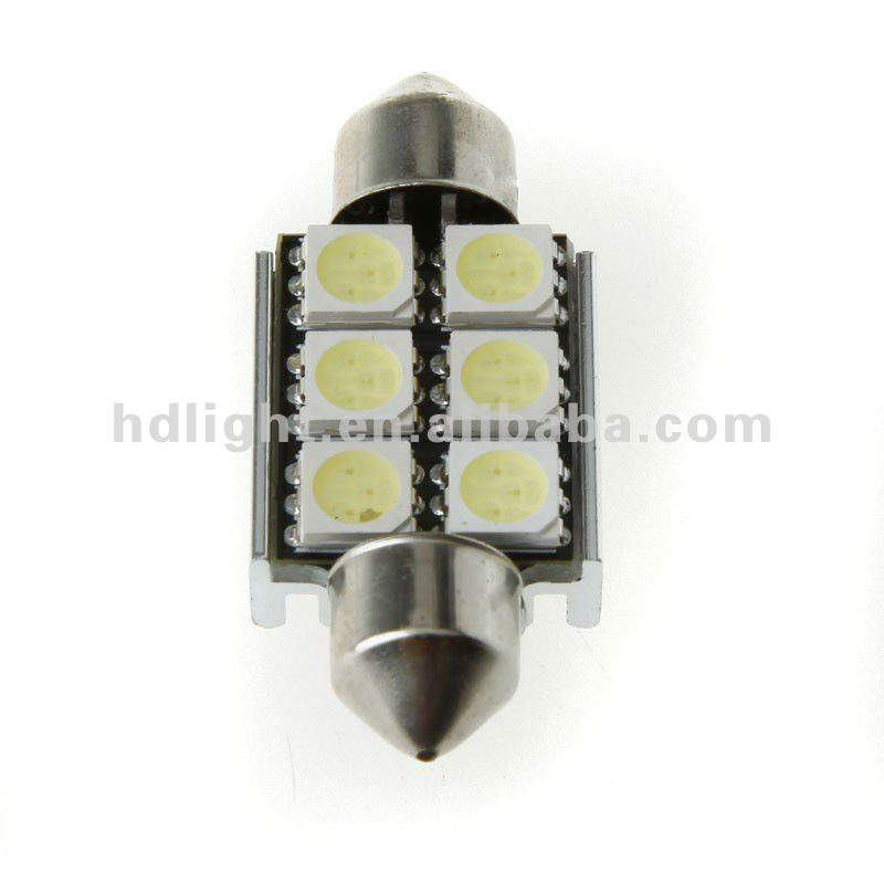 Festoon 6 SMD (5050 3 chip) LED Build in resistors for CAN bus system cars