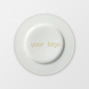 White Customized Printed Round Ceramic Bone China Plates Sets Dinnerware For Dinner Restaurant