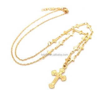 2f6542ab686d Vintage oro color acero inoxidable religiosos Jesucristo crucifijo Cruz  Rosario Cruz colgante Rosario cadenas collar. Ver imagen más grande