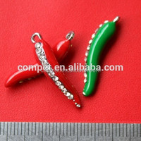 Pendant Red and Green Enamelled Pepper Chili Shape Zinc Alloy Hanging Jewelry Rhinestone Charms