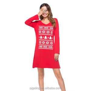 Two Colour Long Sleeve Snow Print Pattern Women Casual Dress