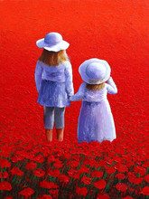 Dafen Factory Wholesale Price Two Baby Girls Stand On The Red Flower Sea Oil Painting On Canvas For Living Room Art Decoration