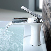 Commercial white bathroom waterfall bathroom sink faucet