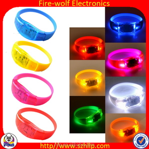 Fire-wolf promotional novelty sound activated led wristbands suppliers wholesales