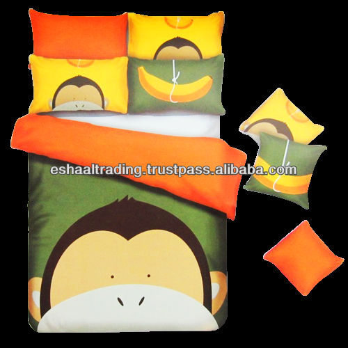 CARTOON CHARACTER KIDS DUVET COVER SET (100% COTTON) - 3 PCS