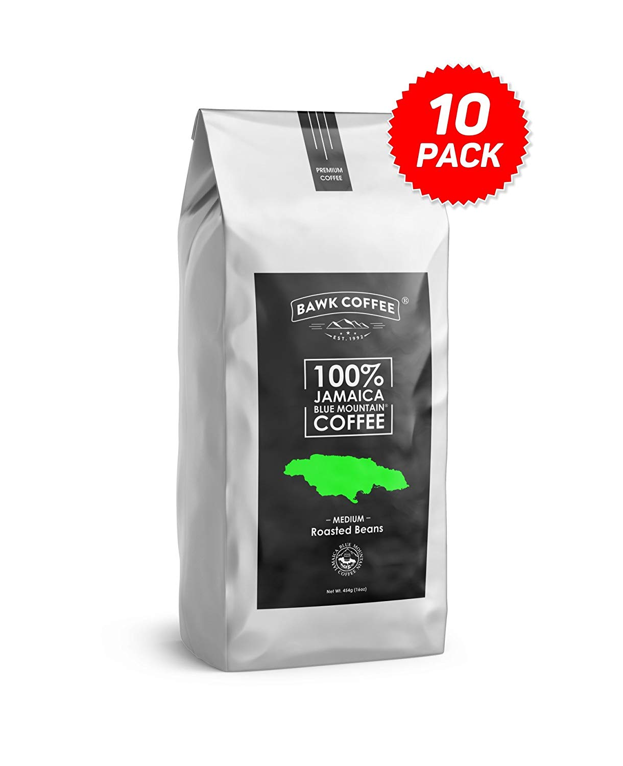 "100% Jamaica Blue Mountain Coffee – ""Medium"" Roasted Beans (16oz.) Bags, (Pack of 10)"