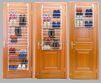 Portable Plastic+steel Tube Shelf Over Door Shoe Rack Organizer