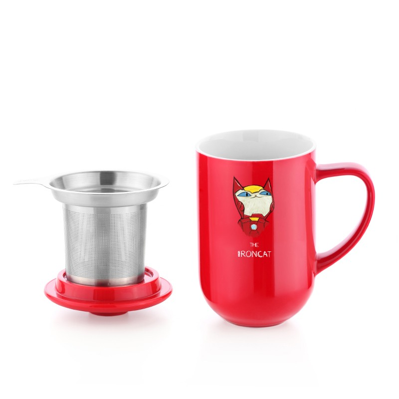 cute cat tea for one tea mug with infuser and lid