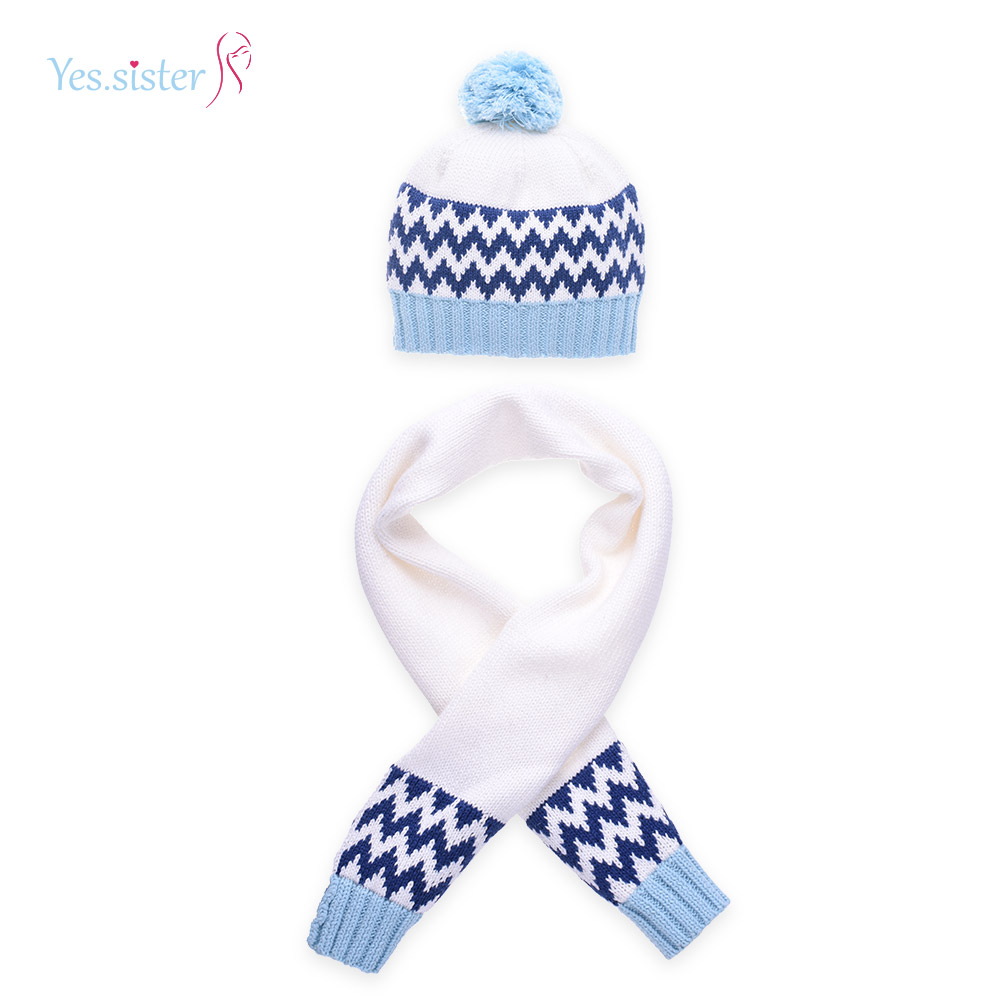 Yes. Sister Stripes 100% Cotton Wholesale Knitted Baby Hat And Scarf Sets