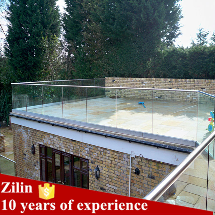 aluminum deck railing/ U channel glass railings/glass balustrade