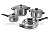 bakelite handle glass lids 7pcs stainless steel cookware