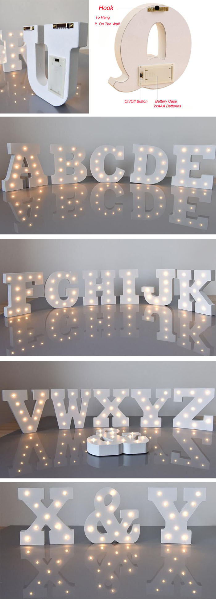 Decorative White Wooden Led Letters Sign LED Numbers Valentine Romance Atmosphere Letter Light