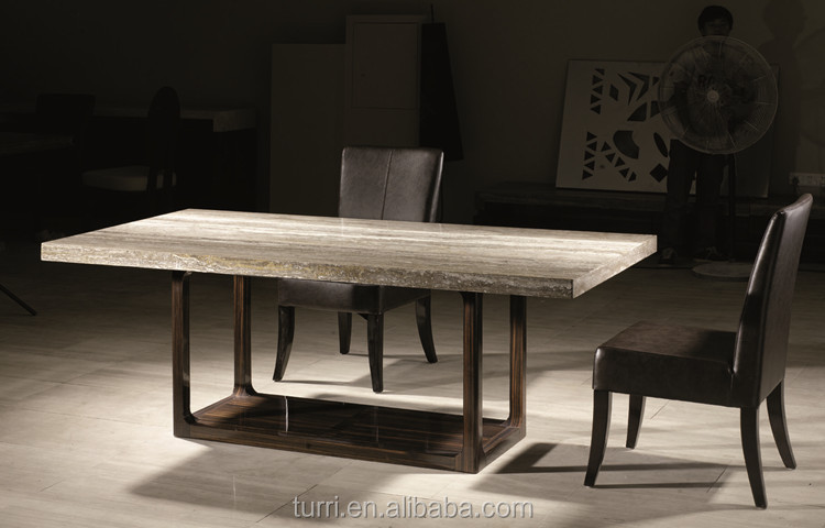 Luxury Furniture Nature Travertine Marble Top Wooden Base Dining Table