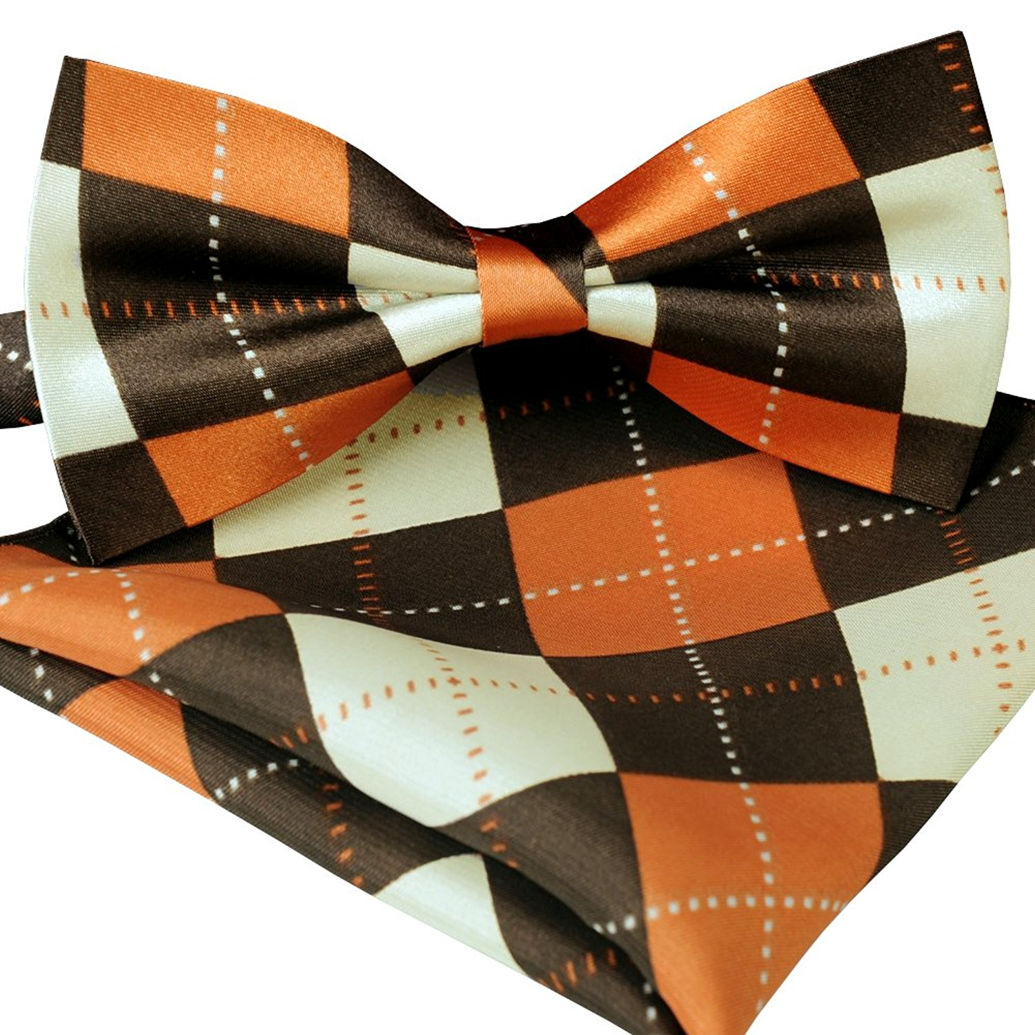 ST34 Brand new Silk feel SATIN Orange and Brown Argyle Plaid Bow tie for Men Bow tie and Pocket square SET BB-1028