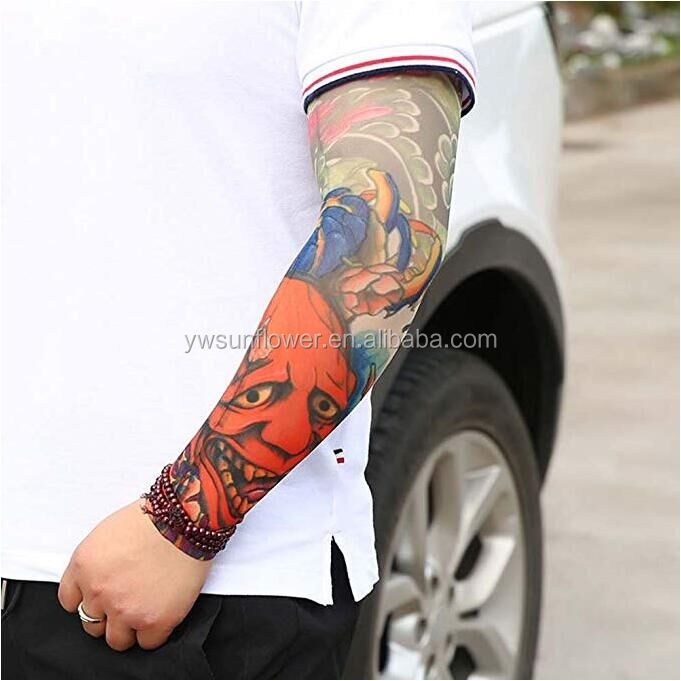 factory custom printed tattoo sleeves, high quality spandex polyester breathable elastic fabric artificial tattoo sleeve