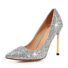 Taoffen/блестящие свадебные туфли; шикарные туфли-лодочки с острым носком; туфли подружки невесты на высоком каблуке; модельные женские туфли д...(Китай)