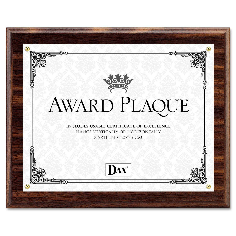 DAX N15818T Award Plaque, Wood/Acrylic Frame, Up to 8 1/2 x 11, Walnut