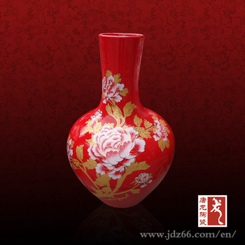 57 35 Chinese Custom Made Porcelain Red Flower Vase Painting