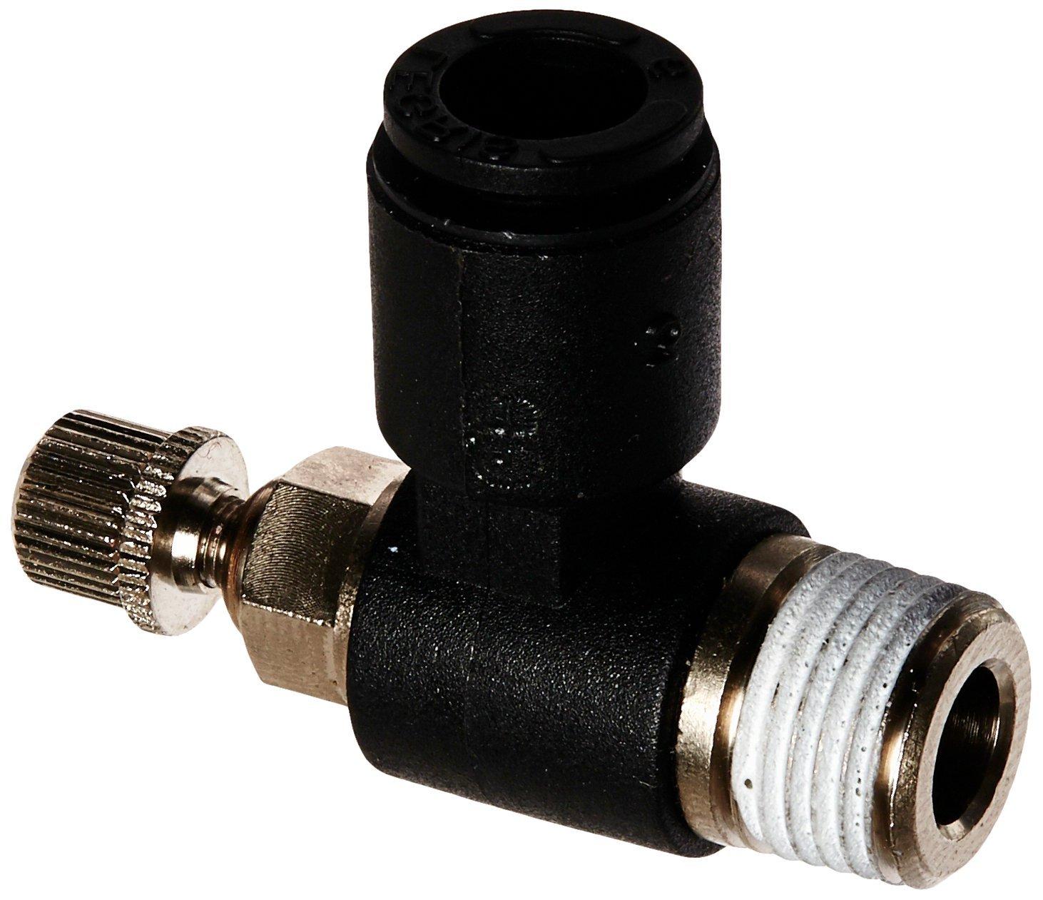 1//4 Tube OD x 1//4 NPT Male 90 Degree Elbow Meter-Out Legris 7665 56 14 Nylon Air Flow Control Valve External Screw//Knob