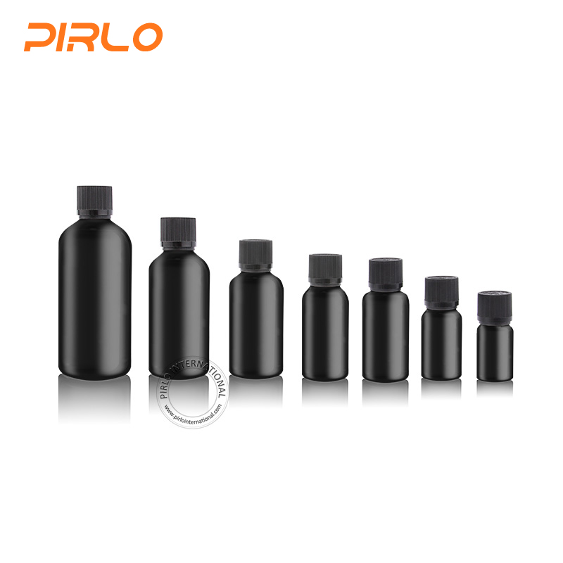 Whosale frosted black color essential oil bottle with different cap
