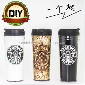 Wholesale 16oz thermal plastic TUMBLER,16oz plastic termo cup,16oz double wall insulated plastic travel mugs with paper