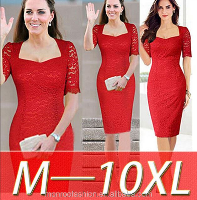 Monroo new hot sale plus size L/XL/2XL/3XL/4XL/5XL/6XL/7XL/8XL/9XL/10XL LACE OFFICE PARTY DRESS
