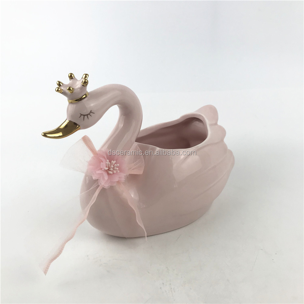 pink large ceramic swan animal flower plant pots planter container