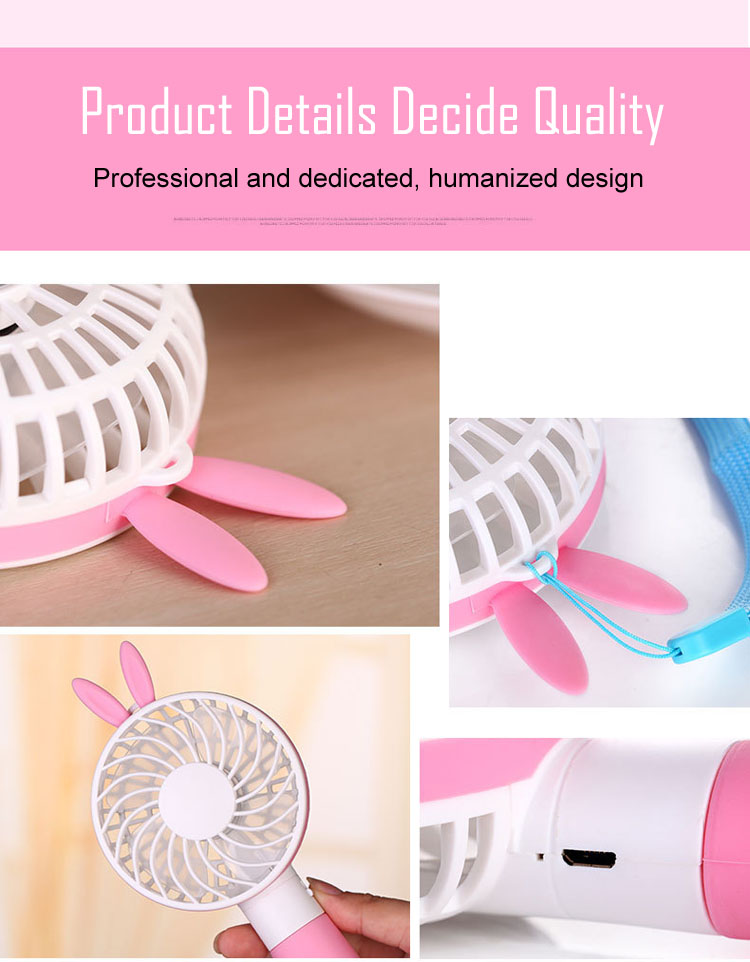Bear Rabbit Handy Mini Portable Fan Outdoor Small Handheld USB Rechargeable Battery Electric Cooling Mini Fan