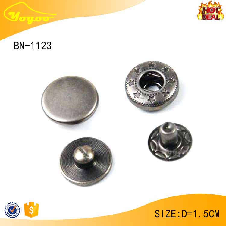 Engraved customized round antique silver press metal snap button for jeans / bags