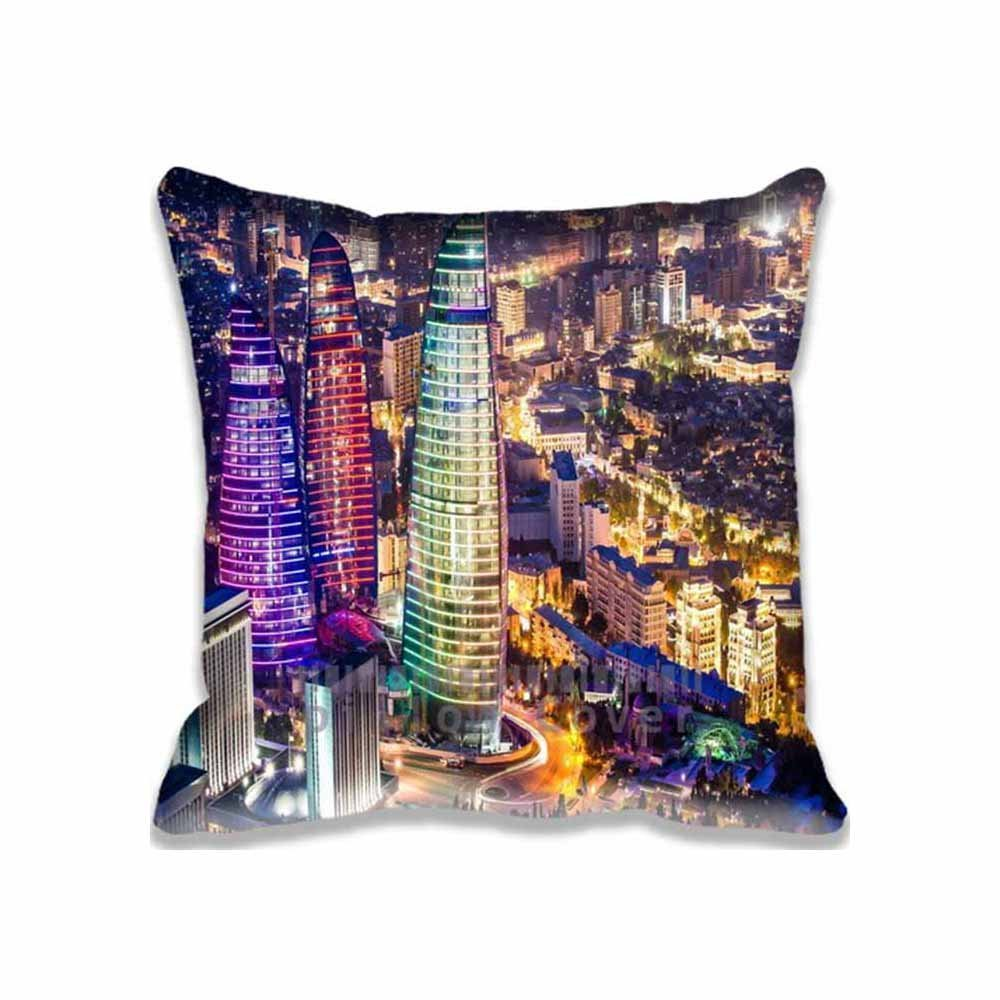 Decorative Flame Towers, Baku, Azerbaijan Pillow Cases Standard Size, Personalized Asia/Azerbaijan Couch Cushion Covers Square Cotton Zippered pillowcase 16x16 inches Print Two Sides