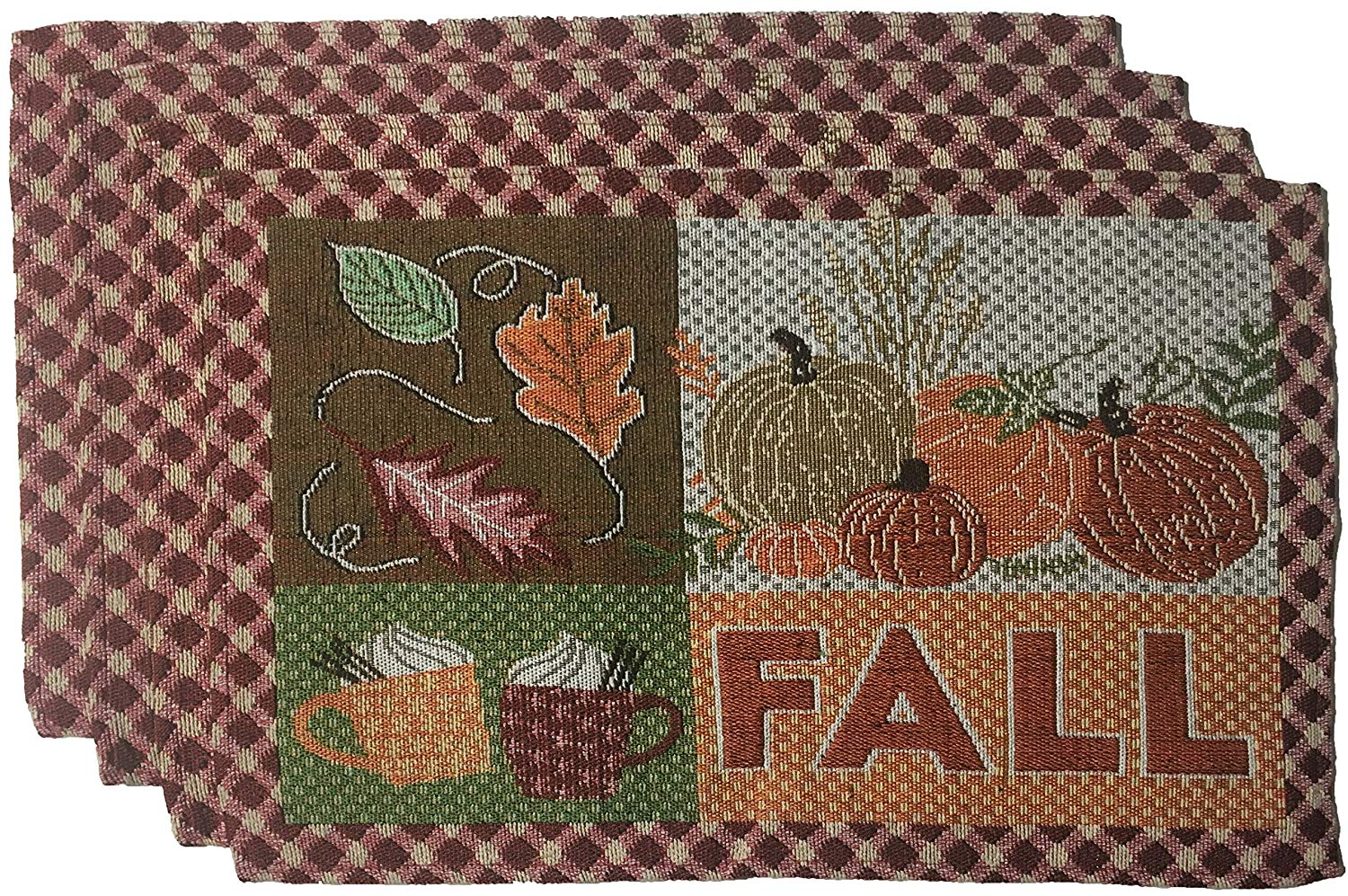 """Nidico Set of 4, Printed Decorative Fall/Halloween/Thanksgiving Collection Tapestry Placemats Size : 13"""" x 19"""". (Design D)"""