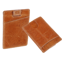 18210 Men's gift blocking rfid card holder mini genuine leather card wallet