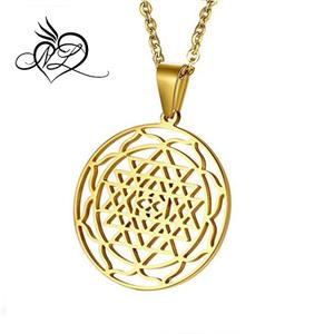 MP Stainless Steel Gold Sri Yantra Sri Chakra Sacred Geometry Talisman  Pendant Necklace