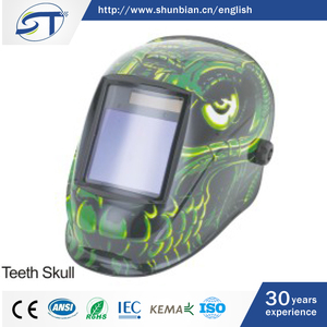 SHUNTE Manufacturer Custom Green Teeth Skull Auto Darkening Full Face Welding Helmet