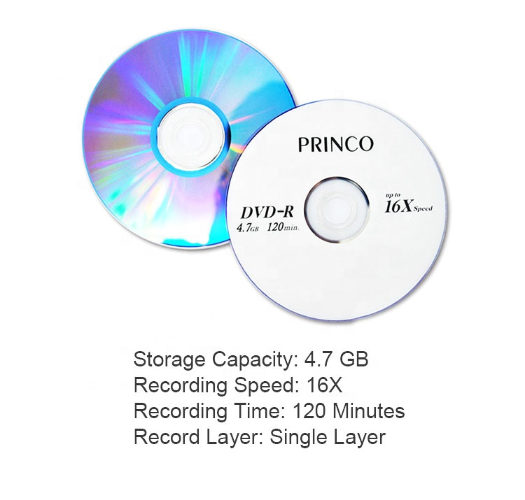High quality disk 4.7gb/120min 1-16x blank princo dvdr, cheap price empty disc 4.7 gb 16x blank dvd-r, princo blank dvd r