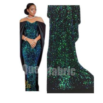 HF design sequins green plain embroidery embroidered french net lace fabrics for lady dress