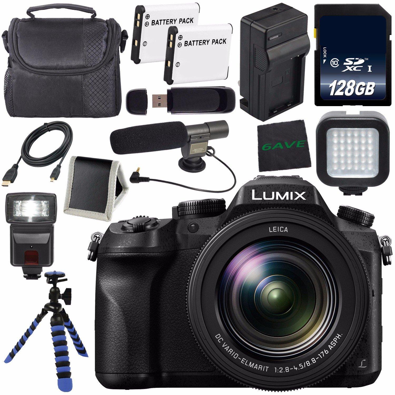Panasonic Lumix DMC-FZ2500 Digital Camera + DMW-BLC12 Lithium Ion Battery + Charger+LED Light + 128GB SDXC Class 10 Memory Card + Tripod + Memory Card Wallet + Flash + Condenser Mic Bundle