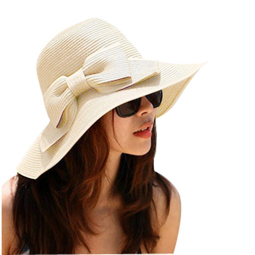 8a53c17315733 Get Quotations · Aisa Women s Foldable Bowknot Floppy Straw Sun Hat Wide  Brim Beach Sun Visor Hat Cap