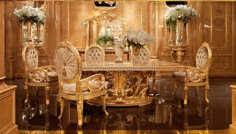 Luxury Style Golden Furniture 4 Doors Sideboard Exquisite Wood Carved Buffet Queen
