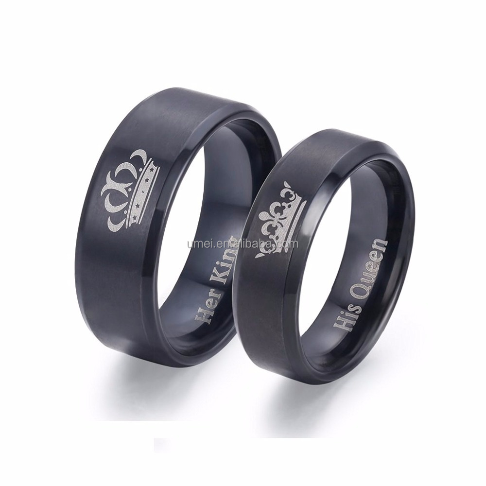 Couple Rings Matching Ring Set Wedding Band His Queen Her King Engagement Anniversary Promise Stainless Steel Ring