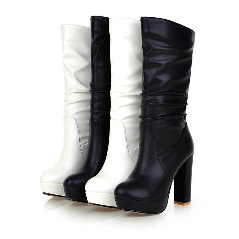 Get Quotations · 2015 sexy winter boots fur inside black and white knee  high boots 4 inch heel soft