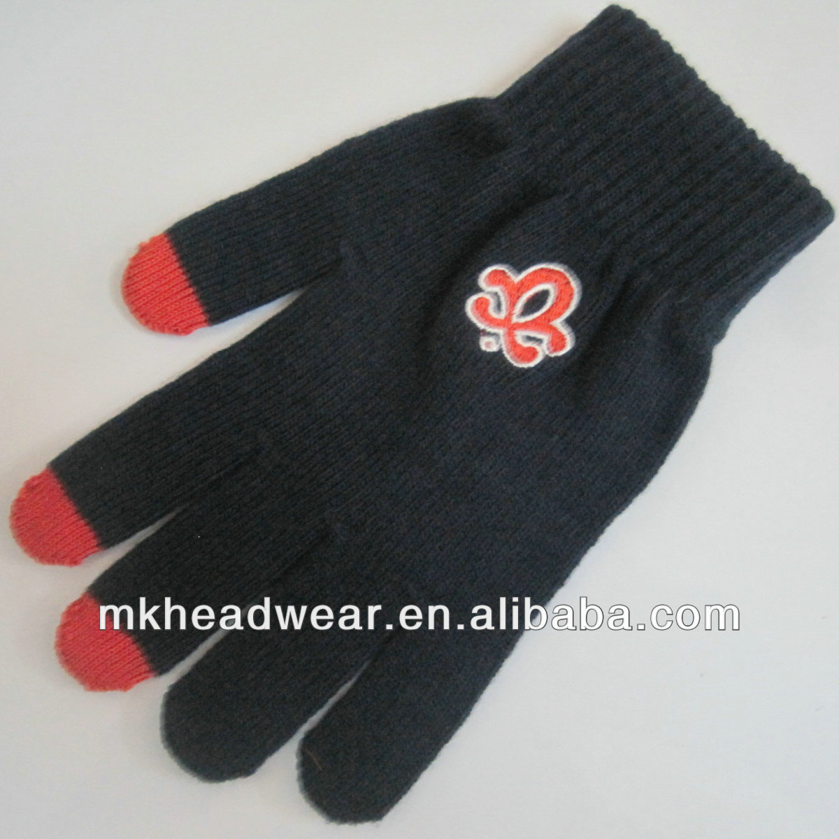 Black touch screen glove with embroidery logo