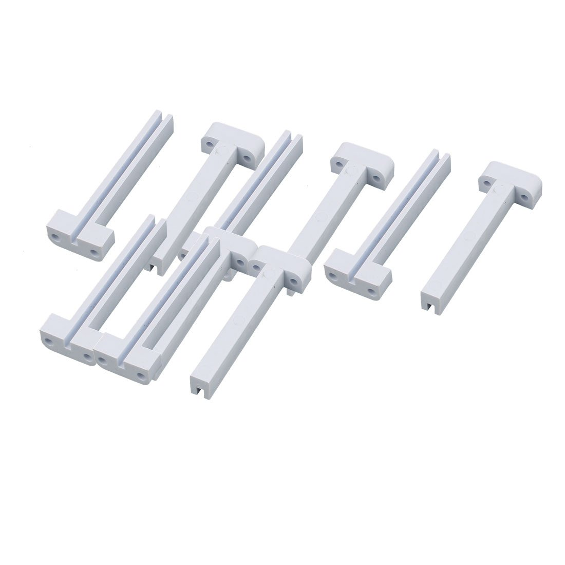 "Uxcell a16031500ux2062 10 Piece Plastic Vertical Mount PCB Circuit Board Slot 50 mm Guide Rail Holder Bar White, 0.79"" Width, 2.36"" Length"