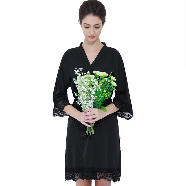 b293c95605 805 Shipping Fast Satin Black Sexy Kimono Robe Plus Size For Women