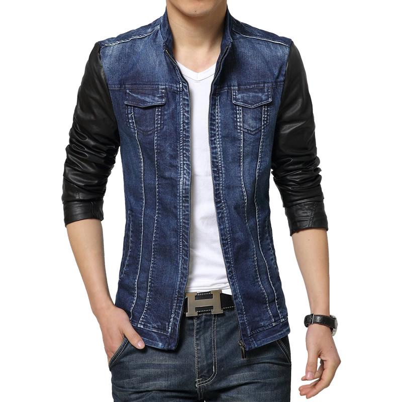 Compra Jean chaqueta con mangas de cuero online al por