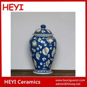 Mediterranean Style Sea Shell Pattern Navy Blue Vase With Lid Buy