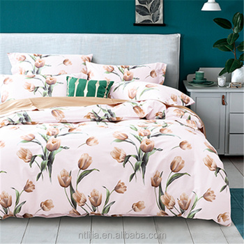 Kosmos Chiniot Furniture Bed Sets Cotton Fabric 60s 4pcs Printed Sheet Design Combed