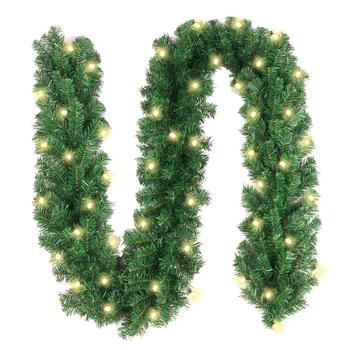 Artificial green Christmas tree with warm lights Pre-Lit LED christmas garland christmas green garland