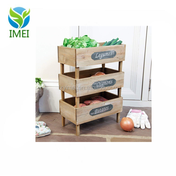 Wooden French Country Vegetable Stacking Produce Crates Trays Kitchen Storage