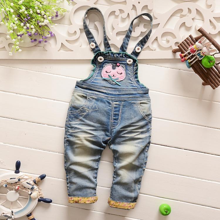 Spring Autumn 2016 Kids Cotton Girls Blue Denim Jeans Girls Overalls Jumpsuits For Toddler Girl Bib